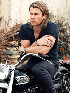 Brand, Chris Hemsworth on motorcycle