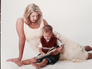 Mom and Tristan reading book